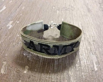 Army Name Tape Military Bracelet, Army Camo Bracelet, Custom Army Jewelry, Army Gifts