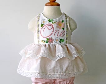 Blush and Cream Pinafore Dress with Bloomers, 1st Birthday Outfit, Baby Girls Birthday, Cake Smash Birthday, First Birthday Party