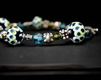 Argus - Lampwork Glass Beads and Swarovski Crystal bracelet