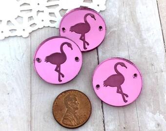 FLAMINGOS CHARMS- Circle Disc Charm - Shiny Pink Mirror Laser Cut Acrylic