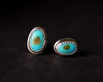 Rare Turquoise Mountain Sterling Silver Earrings | DECEMBER Birthstone | Arizona Mine | Studs Post  | GUGMA Women's Minimalist Jewelry
