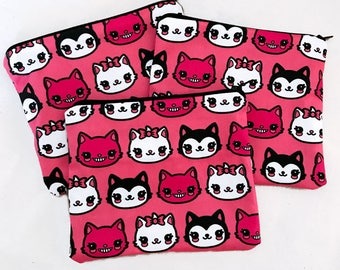 Marie, Figaro, and Cheshire Cat Zipper Pouch - Coin Purse