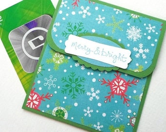 Christmas Gift Card Holder, Snowflake Holiday Money Envelope, Christmas Money Card, Holiday Tip Envelope, Merry and Bright