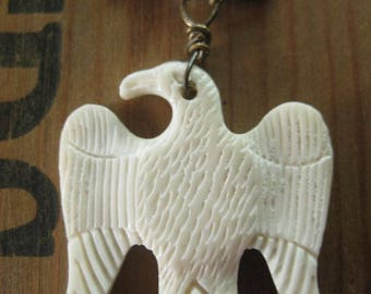 RESERVED ~ Independance Day ~ bone eagle Meerschaum beads Victorian metallic holiday necklace