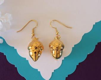 Gold Acorn Earrings, Gold Real Acorns, Gold Acorns, Acorns, Small Acorns, Copper Acorn, Yellow Acorn, Nature, Orangic, AC15