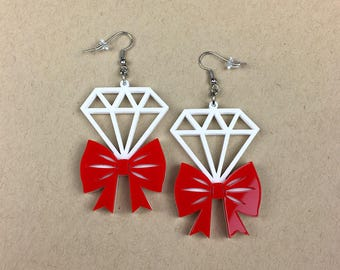 READY MADE SALE - Tie It With A Bow Diamond Earrings - Red & White Laser Cut Earrings (C.A.B. Fayre Original Design)