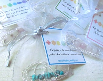 Healing Crystal Necklaces, rose quartz, jade, turquoise, silver with chain