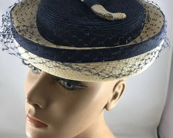 Vintage Ladies' Black and Cream Straw Hat with Black Netted Veil