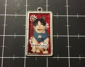 Kitty Superhero, Black and White Kitten Pendant for Cat Fans, 50% of the proceeds go to the selected animal protection charity