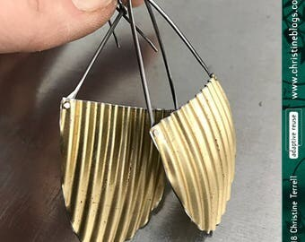 Upcycled Golden Big Tin Earrings Half Oval Wavy Tin Anniversary Corrugated Boho Earrings Ethical Luxury Corrugated Minimalist Modern Design