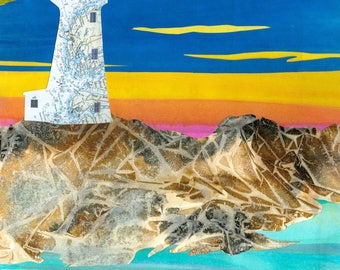 Paper Collage Art Print, Peggy's Light  8x10 or 10x13 Lighthouse Print