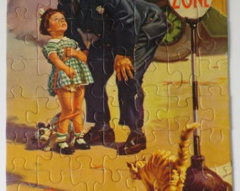 Vintage Goes Hintermeister Picture Puzzle • Safety Zone Puzzle • Police Officer Girl Dog Cat Puzzle