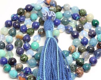 Blue Water Mala, Hand-Knotted, 108 Beads