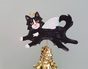 Tuxedo Cat Angel Tree Topper - Cat Tree Topper - Mini Tree Topper - Christmas Tree Topper - Topiary Topper - Cat Theme Tree