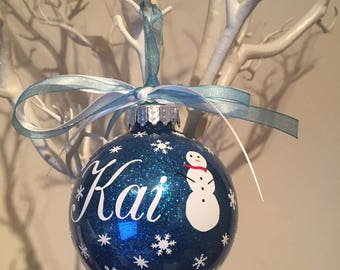 Snowman  themed personalised Christmas Bauble