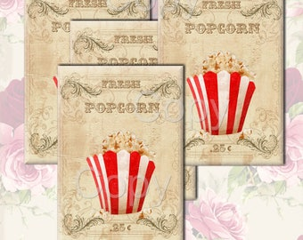 INSTANT DOWNLOAD - FRESH Popcorn - Gift Tag - Pretty Papers No. 10 - 3.5 X 5  inches -  Printable Digital Collage Sheet - Digital Download