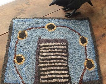 Primitive Hooked Rug- Sunflower Cabin