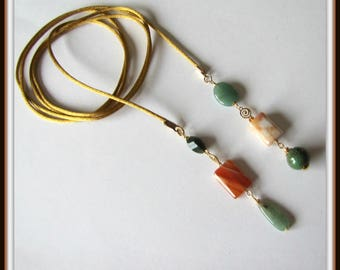 Lariat Necklace, 57 inches, Gemstone beads, Stripped Agate, Green Agate, Long necklace, Beaded Necklace, Wrap Necklace, Corded Lariat,# 1234