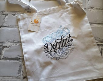 Darnknit - Knitting Themed Embroidered Tote Bag - knitting-crochet- needlearts