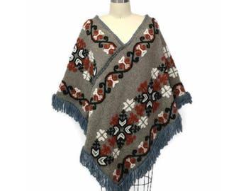 vintage wool embroidered hippie fringe shawl