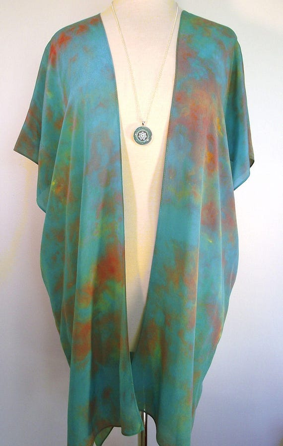Silk Kimono-Hand Dyed Silk-Turquoise with Terracotta and Gold-Elegant Silk Crepe-Size S-XL