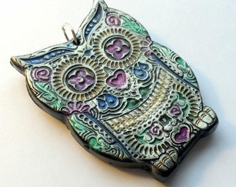 Owl Black and Colorful Sugar Skull Day of the Dead Ornament or Decoration