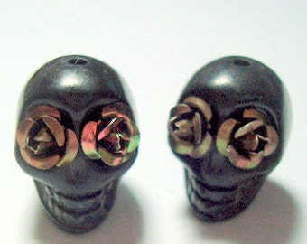 Bronze Metal Roses in Black Day of The Dead Skull Beads