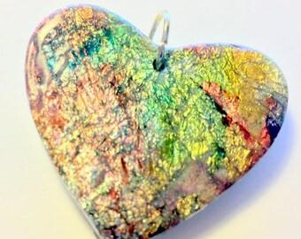Handmade Polymer Clay Heart Pendant Silver Foil Crackle Ink Heart Pendant