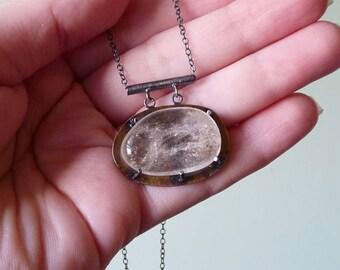 Quartz Crystal Necklace in Sterling Silver & Brass, Quartz Jewelry, Quartz Necklace, Quartz Crystal, Quartz Pendant, Quartz Jewellery