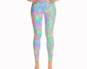 Acid Pastel Leggings / Psychodellic Leggings / Pastel Leggings / Kawai Leggings / Trance Leggings / Yoga Pants / Colorful Leggings