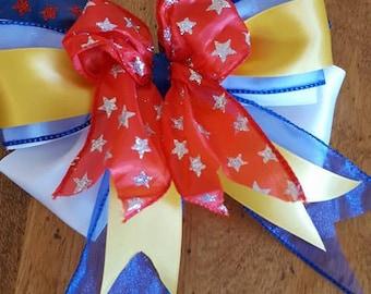 Cheer Bow JOJO Bow Handmade Wonder Woman