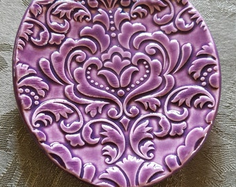 Handmade Purple Damask Ring Dish, Snack Plate, Candle Tray, Wedding Ring Dish, Small Spoon Rest, Tea Bag Dish