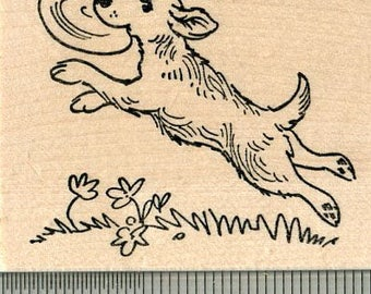 Dog Rubber Stamp, Playing Frisbee K32606 Wood Mounted