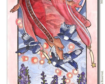 Art Print Lady of July with Floating Sky Lanterns and Magpies Birds Star Goddess Birthstone Birth Flower Mucha Inspired Art Nouveau Painting