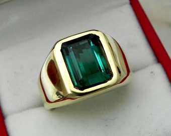 AAAA Blue Indicolite Tourmaline 10x7mm  2.53 Carats   Heavy 14K Yellow gold Emerald cut Mans or GENTS ring 15-16 grams 1762