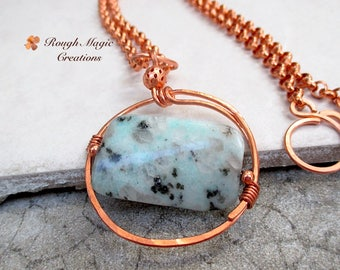 Large Gemstone Pendant Necklace, Aqua Pastel Blue Green Jasper, Copper Circle, Wire Wrapped Stone, Adjustable Chain, Gift for Woman N322