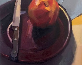 """Art fruit painting """"Knife and Nectarine"""" original oil on canvas by artist Sarah Sedwick 9x12"""""""