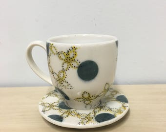 handmade porcelain espresso cup & saucer: Dot Dot Floret cup by Meredith Host, mid mod, coffee drinker, polka dots, grey and yellow, coffee