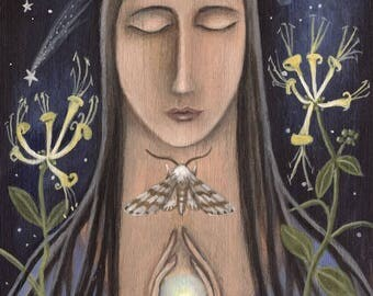 Moth Prayer. Spiritual/Nature/ Lepidoptera/ Art print by Karen Davis