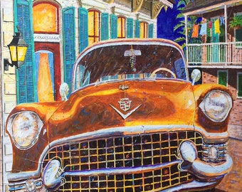 """Cadillac Art 1955 Cadillac """"French Quarter Caddy"""" Prints Signed and Numbered"""