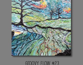 Groovy Abstract Acrylic Flow Painting #23 Ready to Hang 10x10