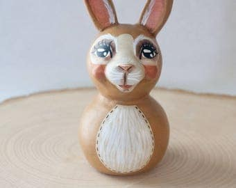 Sweet Hand-Sculpted Tan Bunny Rabbit Folk Art Doll - One of a Kind, Charming Whimsical Vintage Style Collectible