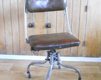 Vintage Rolling Industrial Office Chair • Historic Automotive Shop Chair • Property of Chevrolet Flint Michigan
