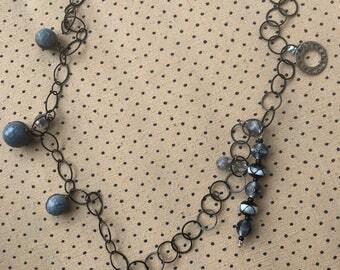 Chain necklace, Gemstone jewelry, Chain link jewelry,