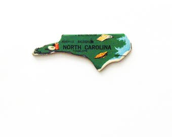 1961 North Carolina Brooch - Pin / Unique Wearable History Gift Idea / Upcycled Vintage Wood Jewelry / Timeless Gift Under 25