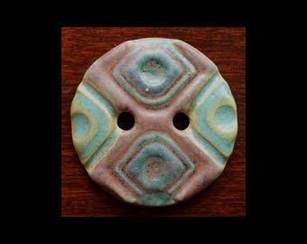 Ceramic Buttons: Stone Blue Greens and Pastel Purples