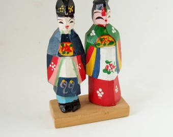 Vintage Korean Dolls - Carved  and Painted Wooden Couple in Traditional Costumes