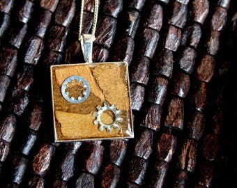 Industrial Steampunk Woodland Tree Bark Resin Pendant Necklace