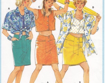 Vintage Pattern Burda 6256 Blouse - Top and Skirt 90s Size 8-18