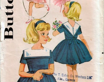 1960s Butterick 2195 Vintage Sewing Pattern Girl's Party Dress, Full Skirt Dress Size 4